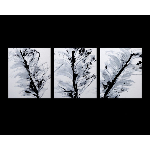 3 Piece Abstract Canvas Painting in Black / White | Temple & Webster