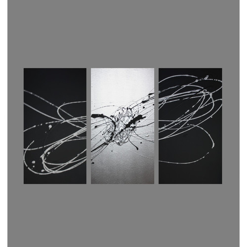 4c171fc5dd8 3 Piece Abstract Canvas Painting in Silver and Black