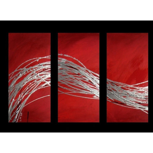 3 piece abstract canvas painting in silver and red temple webster