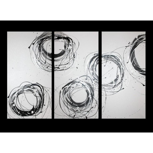 3 Piece Abstract Canvas Painting in White and Silver | Temple & Webster