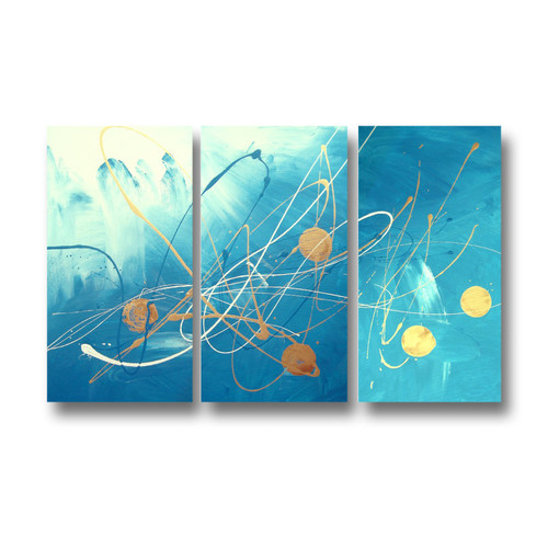 3 Piece Abstract Canvas Painting In Turquoise And Gold