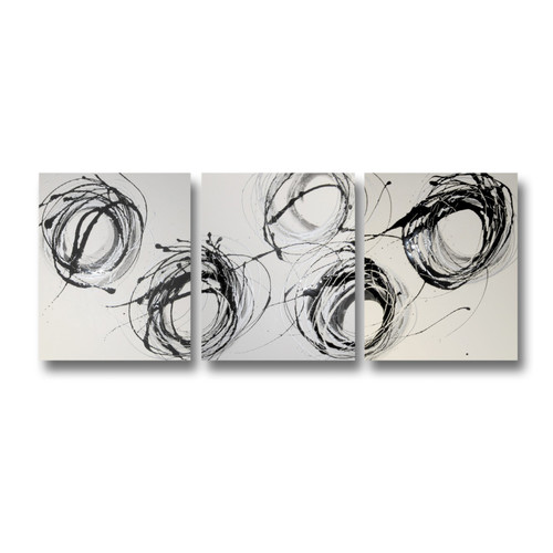 Decor Abstract Art Whirling Abstract Triptych Wall Art