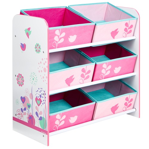 Worlds Apart Flowers & Birds 6 Bin Storage Unit