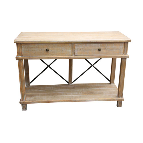 Global Gatherings Timber 2 Draw Console with Metal Crossbars