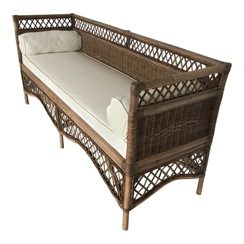 Global Gatherings Rattan Daybed with Roll Cushions