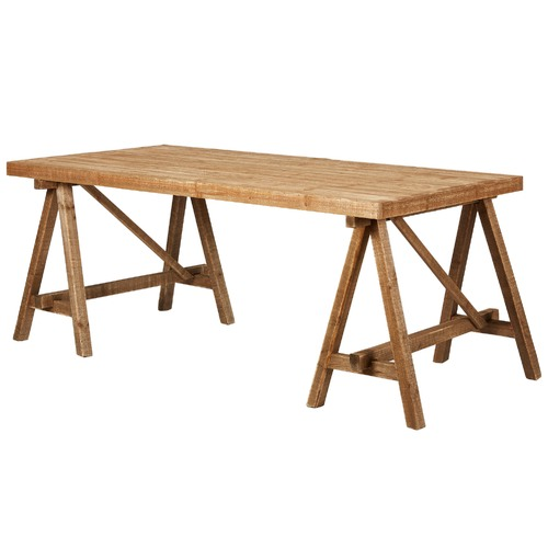 Rustic Pine Trestle Dining Table Temple Webster