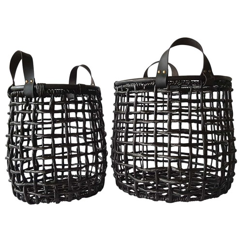 Global Gatherings Black Grass & Leather Storage Baskets