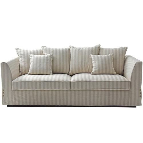 Global Gatherings Cream Striped 3 Seater Sofa