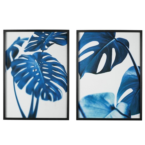 2 Piece Blue Monstera Printed Wall Art Set Temple Amp Webster