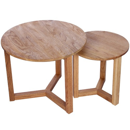 Global Gatherings 2 Piece Natural Oak Side Table