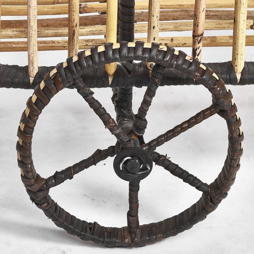 Global Gatherings Rattan & Iron Black Wrap Bar Cart