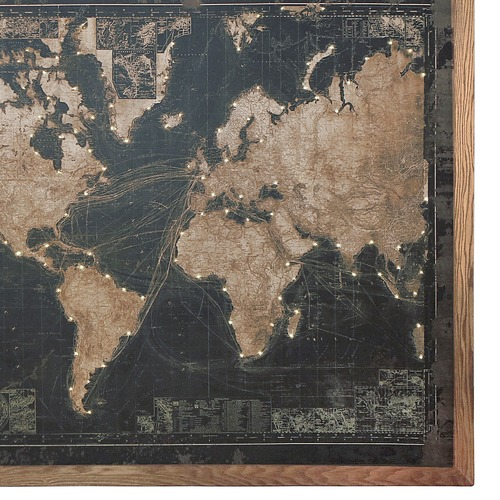 Light Up World Map Wall Hanging
