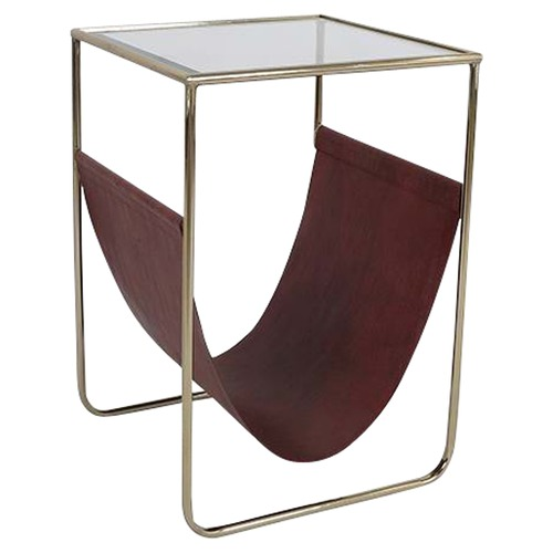global gatherings faux leather magazine holder side table - Leather Side Tables