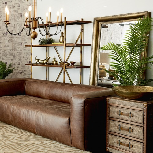 Global Gatherings Tan Paige Leather 3 Seater Sofa