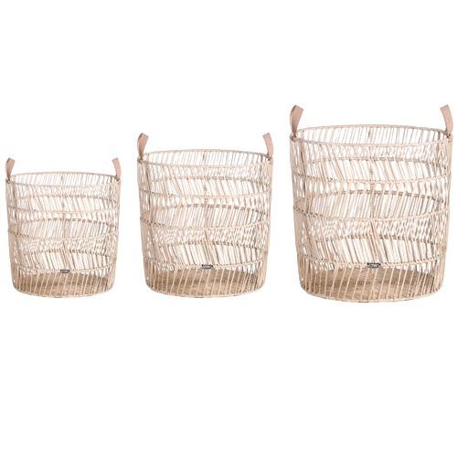 Global Gatherings 3 Piece Morocco Rattan Basket Set