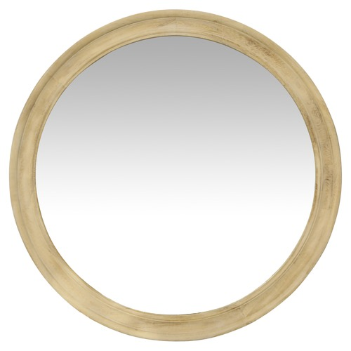 Global Gatherings Zeta Round Wood Mirror