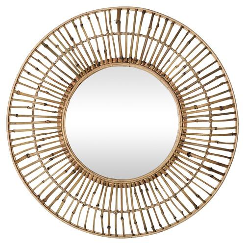 Global Gatherings Lani Woven Round Bamboo Mirror