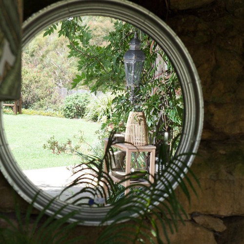 Global Gatherings Silver Justine Round Iron Mirror