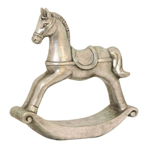 Global Gatherings Silver Terracotta Rocking Horse Ornaments