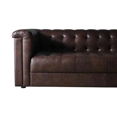 Global Gatherings Brown Dominic 3 Seater Leather Sofa