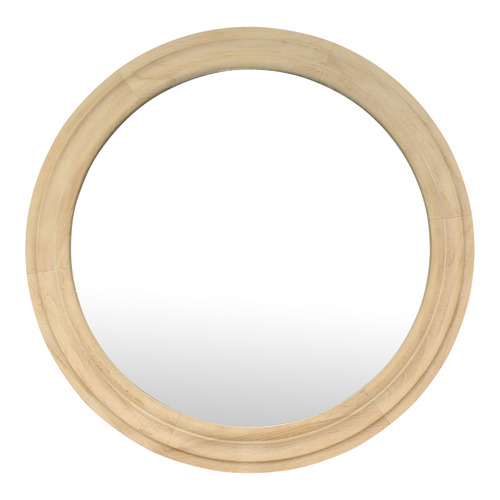 Global Gatherings Natural Lexie Round Wall Mirror