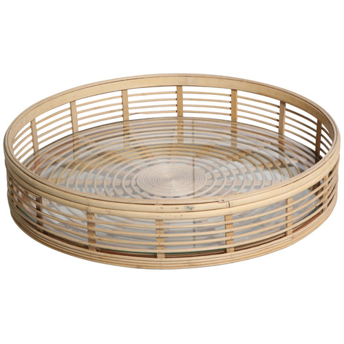Global Gatherings Natural Osmos 48cm Rattan Tray