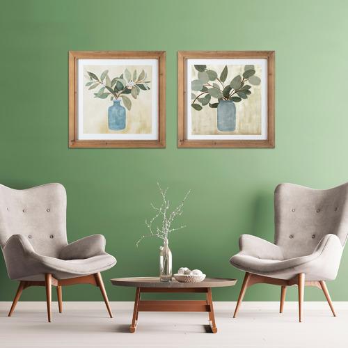 Global Gatherings 2 Piece Leaves in Vases Framed Printed Wall Art Set