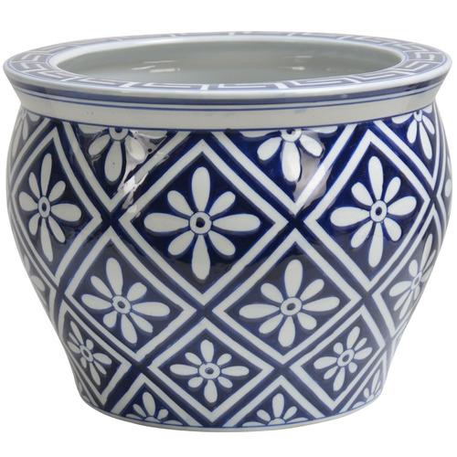 Global Gatherings Blue & White Tesla Porcelain Plant Pot