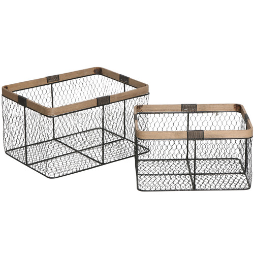 Global Gatherings 2 Piece Black Centro Metal Baskets