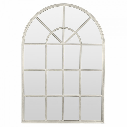 Global Gatherings White Arched Iron Wall Mirror with Panes