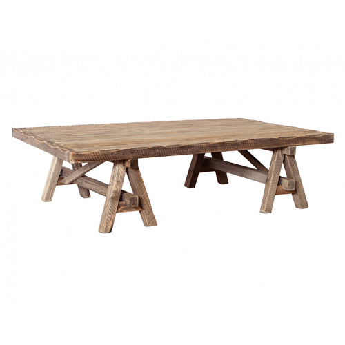 Global Gatherings Rustic Wooden A-Frame Coffee Table