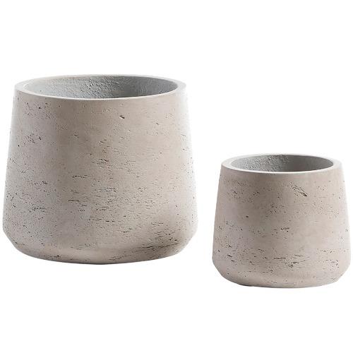 2 Piece Grey Cement Planter Set