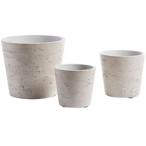 Linea Furniture 3 Piece Light Grey Cement Planter Set