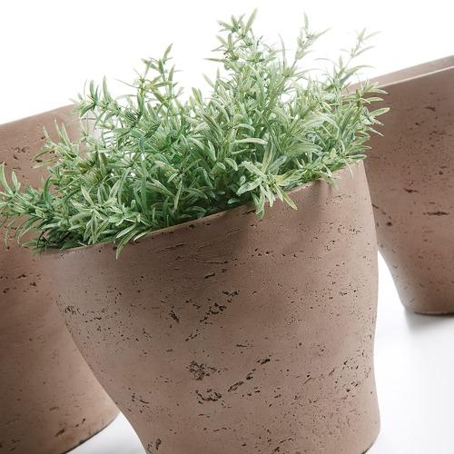 Linea Furniture 3 Piece Brown Cement Planter Set