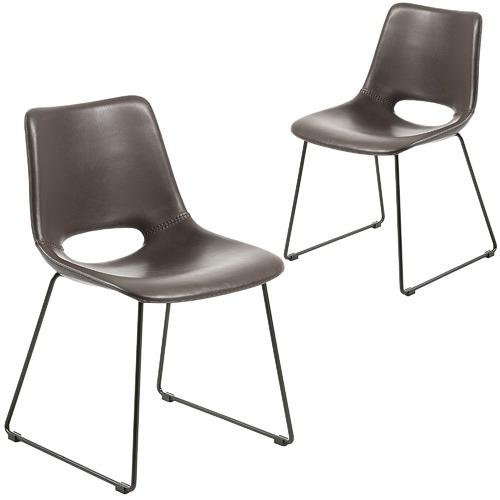 Enjoyable Faux Leather Sleigh Dining Chair Set Of 2 Spiritservingveterans Wood Chair Design Ideas Spiritservingveteransorg