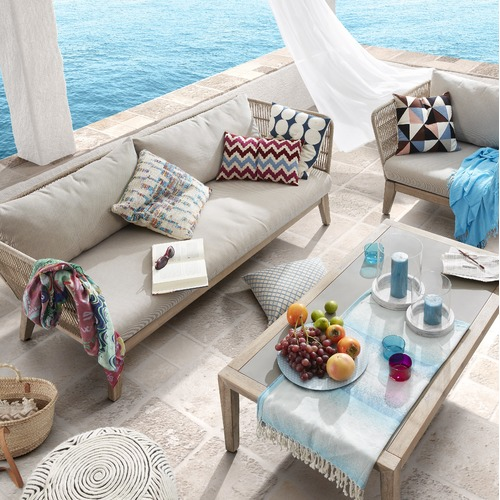 Linea Furniture Beige Wallace 3 Seater Outdoor Sofa
