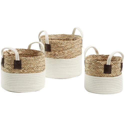 Linea Furniture 3 Piece Natural & White Thalia Basket Set