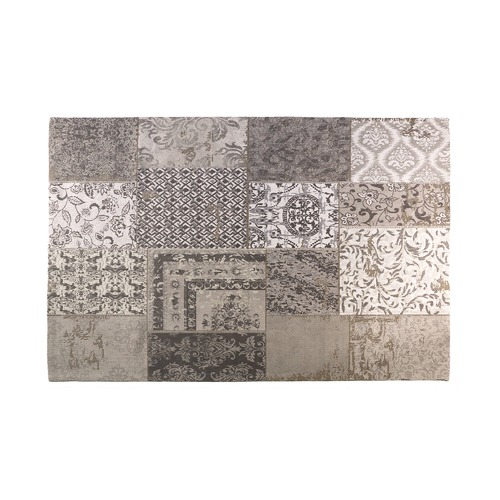 Linea Furniture Grey Otis Patchwork Cotton Rug