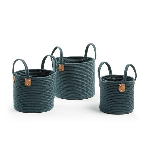 Linea Furniture 3 Piece Green Rania Cotton Rope Basket Set