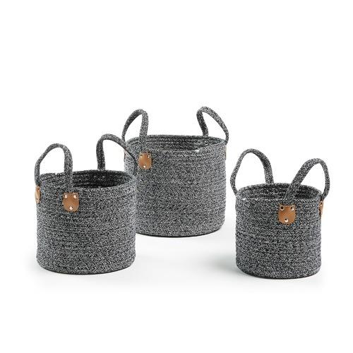 Linea Furniture 3 Piece Navy Aida Cotton Rope Basket Set
