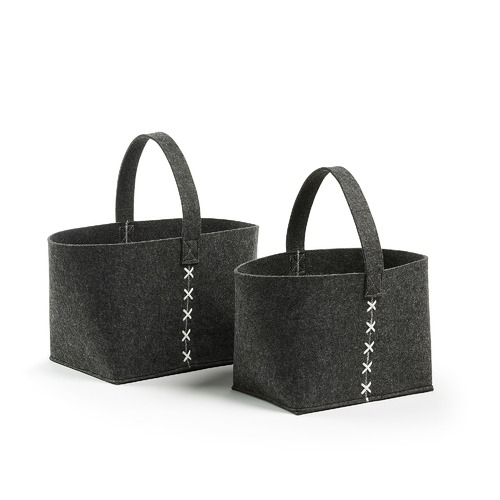 Linea Furniture 2 Piece Graphite Lily Felt Basket Set