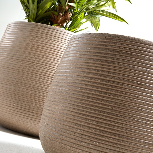 Linea Furniture 2 Piece Brown Jillian Cement Pot Set