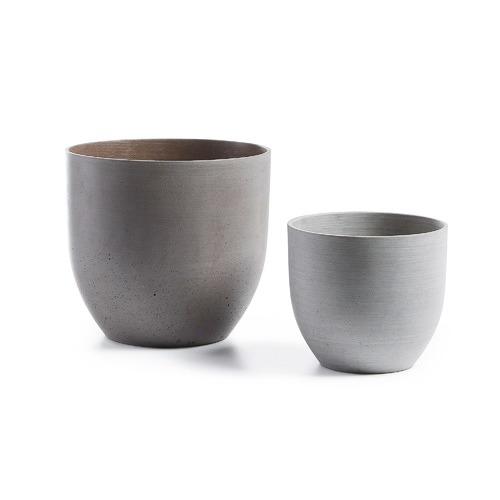 Linea Furniture 2 Piece Naomi Poly-Cement Pot Set