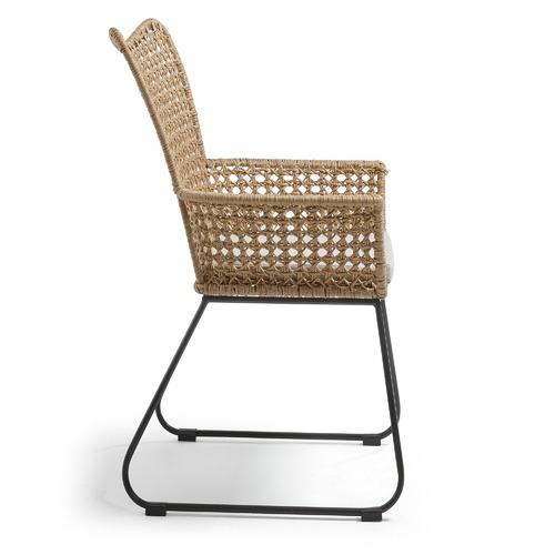Linea Furniture Beige Stanley Faux Wicker Armchair