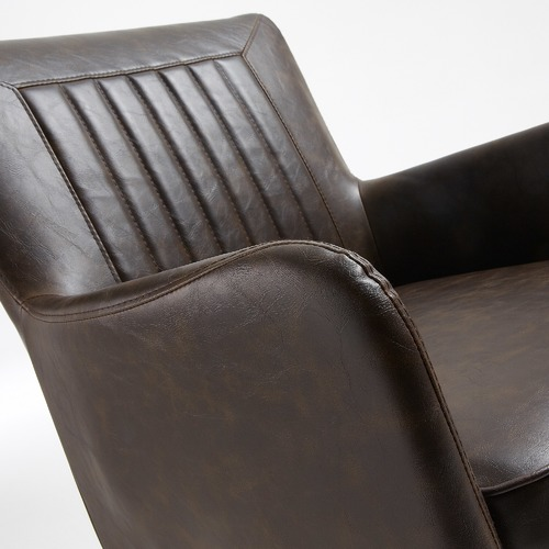 Linea Furniture Dark Brown Amma Faux Leather Armchairs
