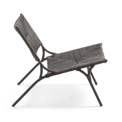 Linea Furniture Charcoal Ella Faux Water Hyacinth Armchair