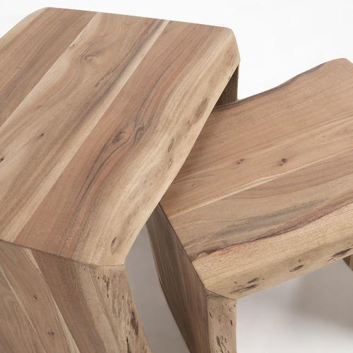 2 Piece Teo Wood Nesting Tables Set