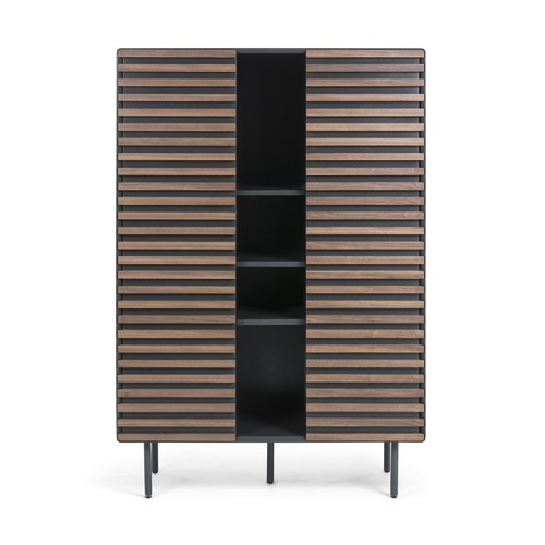 Linea Furniture Graphite & Walnut Ekko Slatted Cabinet