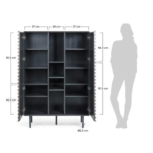 Linea Furniture Graphite & Walnut Ekko Slatted Cabinet