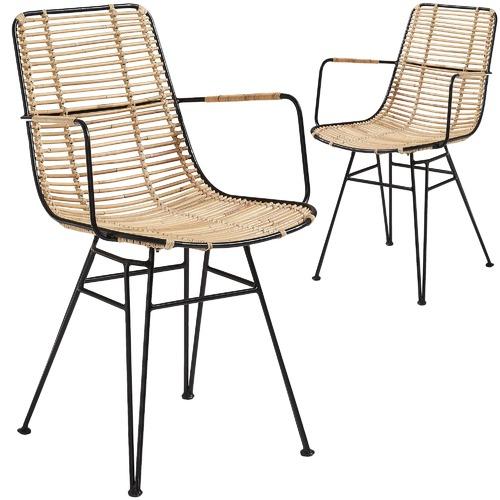 Linea Furniture Natural Jaafan Rattan Outdoor Armchairs